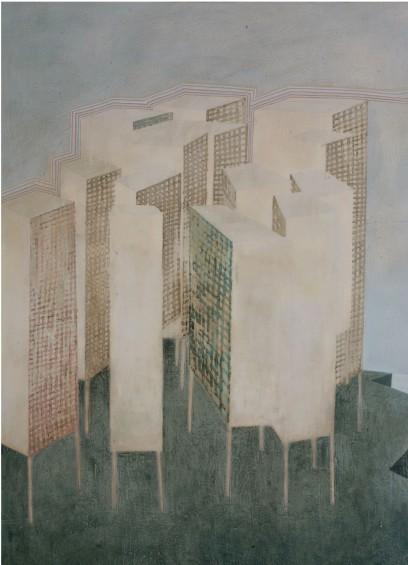 City on Stilts, 7 x 5 ft, oil on canvas, 2007.