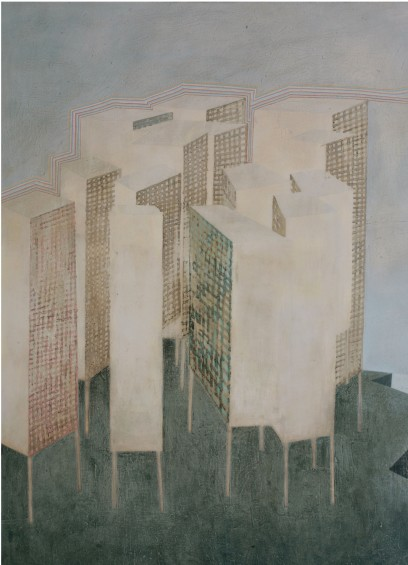City on Stilts, 7 x 5 ft, oil on canvas, 2007.