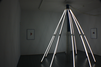 Difference Engine, Accumulator III, Limerick City Gallery of Art, Gillian Lawler and Mark Cullen, 2 paintings and light sculpture, 2013.